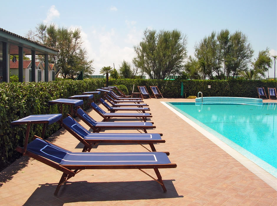 Deckchairs by the pool of Bagno Lido